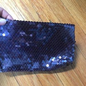 Dark Purple Sequin Clutch Handbag